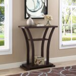 cappuccino finish hall console sofa entryway accent table with curved legs kitchen dining wood and metal end antique victorian side pier outdoor wicker furniture mirror cabinet 150x150