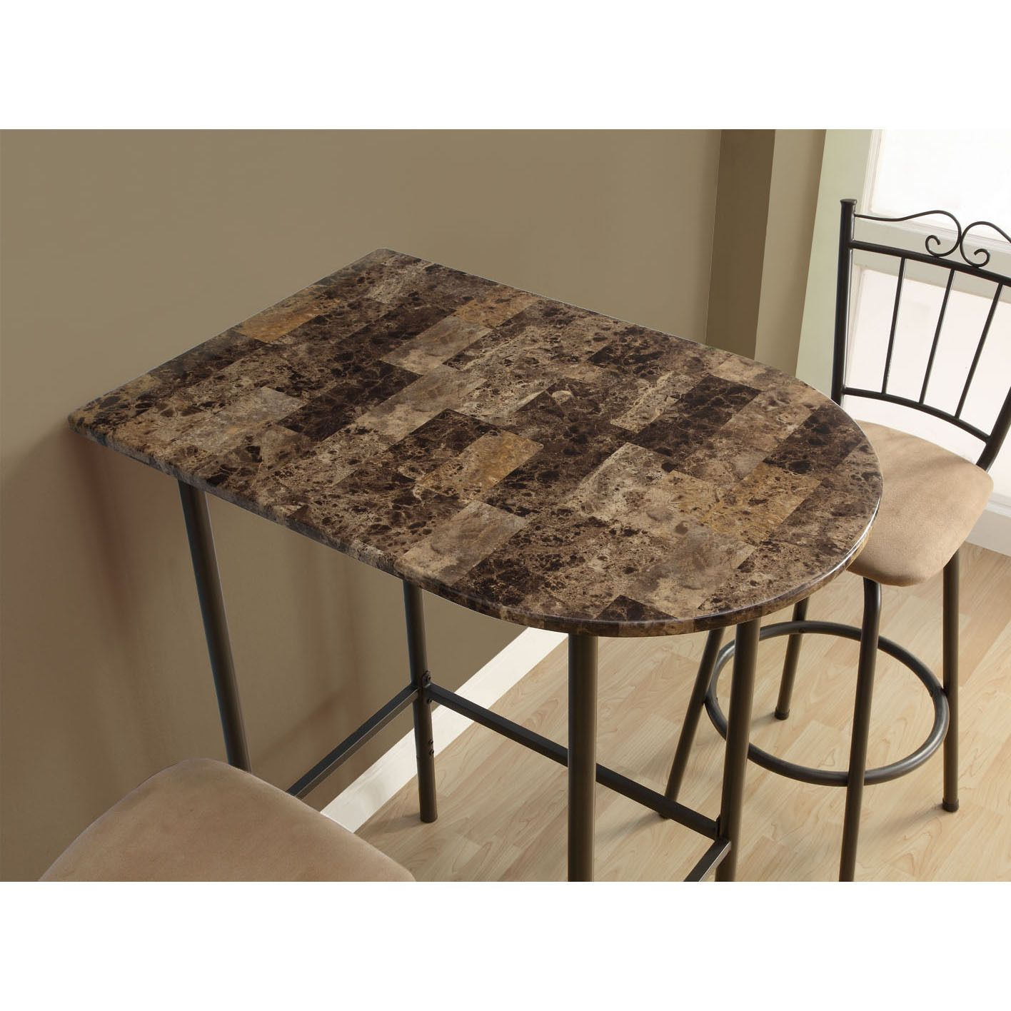 cappuccino marble inch spacesaver bar table monarch specialties top accent side coffee metal brown round vinyl tablecloth teak patio foyer with storage ashley center transition