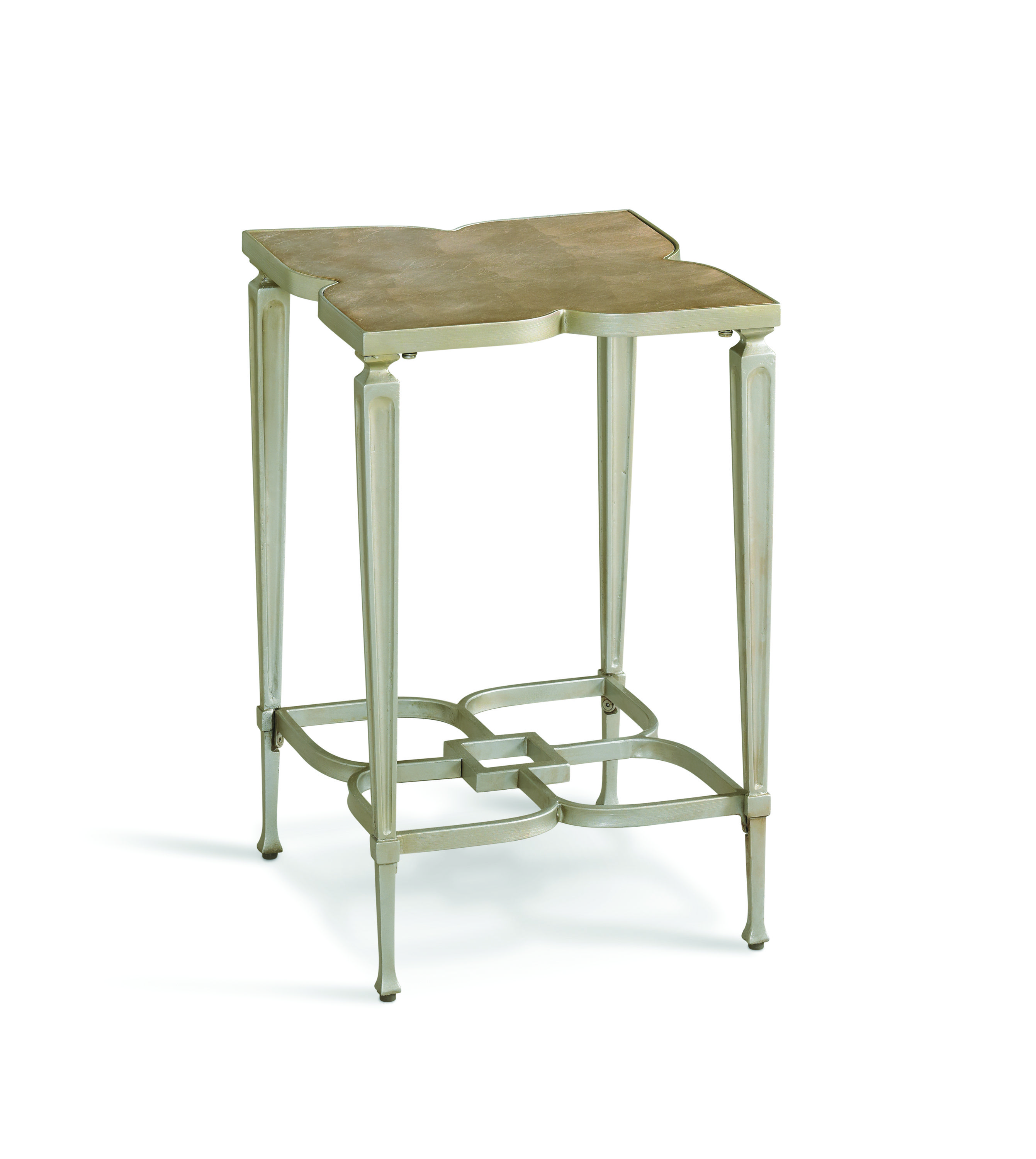 caracole lucky charm accent table features signature warm tables edmonton silver gold metal finish and wood top painted taupe leaf live edge patio side large nightstands elm