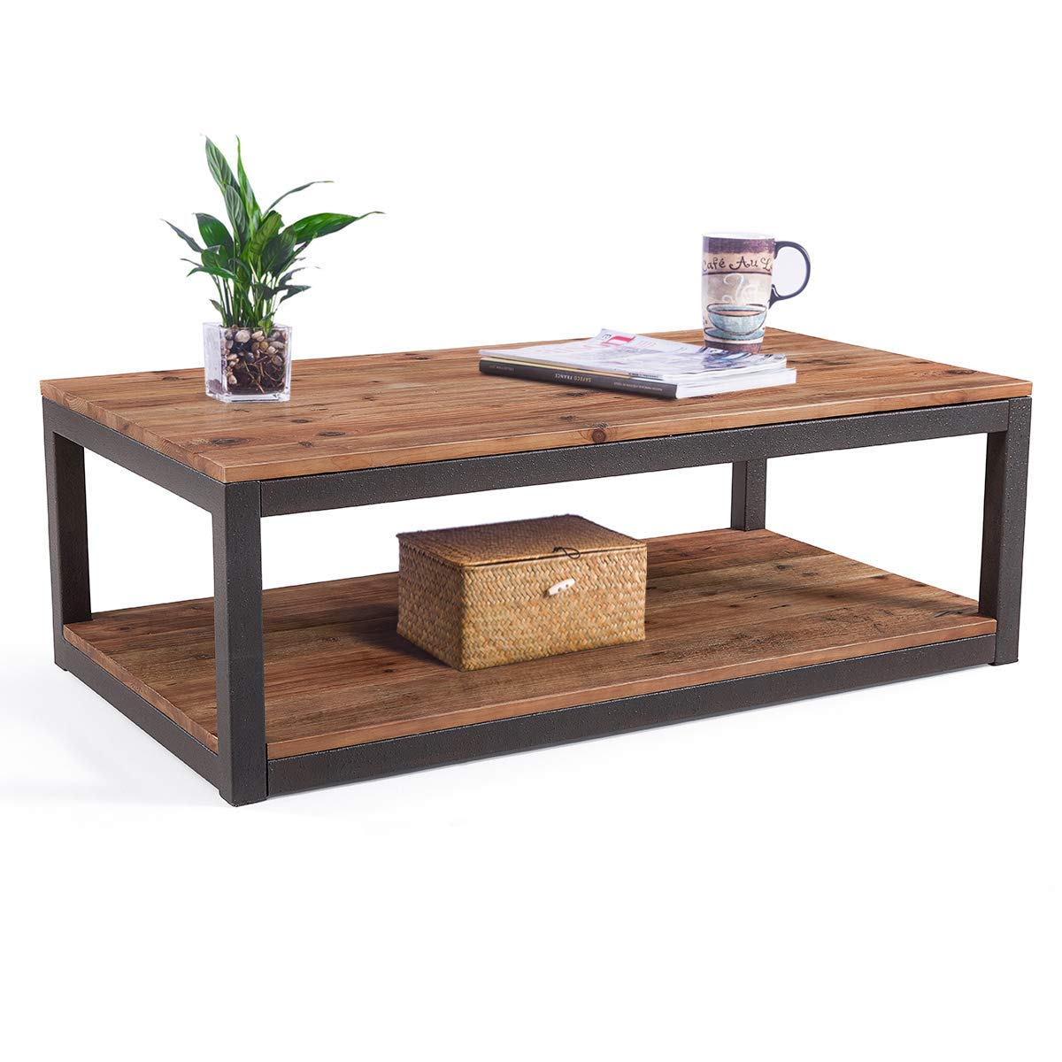 care royal vintage industrial farmhouse coffee wood accent table cocktail with storage open shelf for living room natural solid reclaimed nautical sofa marble moroccan pine