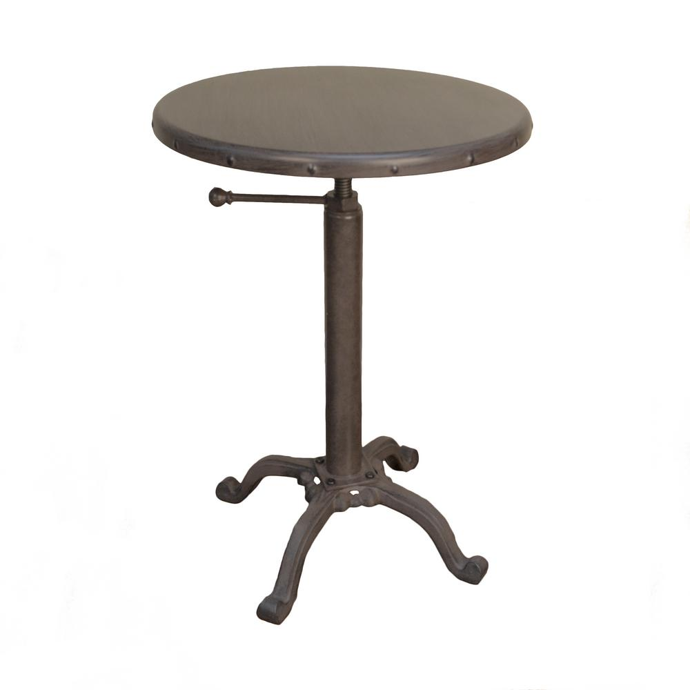 carolina cottage accent tables living room furniture the home industrial vintage finish powder coated base and top end ind metal table colton warm chestnut astoria dining chair