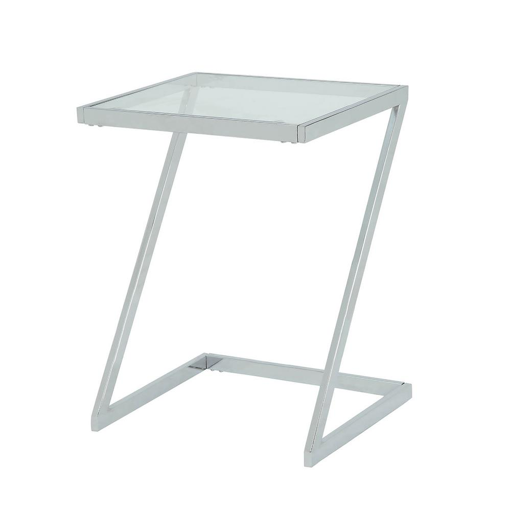 carolina cottage aurora chrome base glass top accent table end tables chr white cloth placemats mosaic patio furniture modern brass lamp round with drawers pub height and chairs
