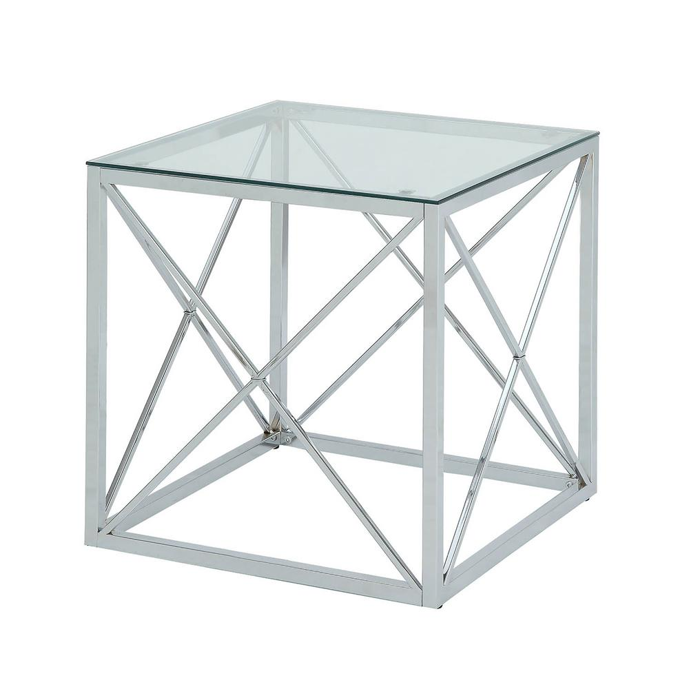 carolina cottage maren chrome cube glass top accent table end tables chr mirrored round lamp for living room side with drawer white patio umbrella replacement kohls slipcovers