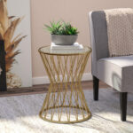carpendale hourglass metal end table joss main accent pier mirrored furniture black half round console mosaic bistro set ethan allen dining and chairs west elm white nightstand 150x150