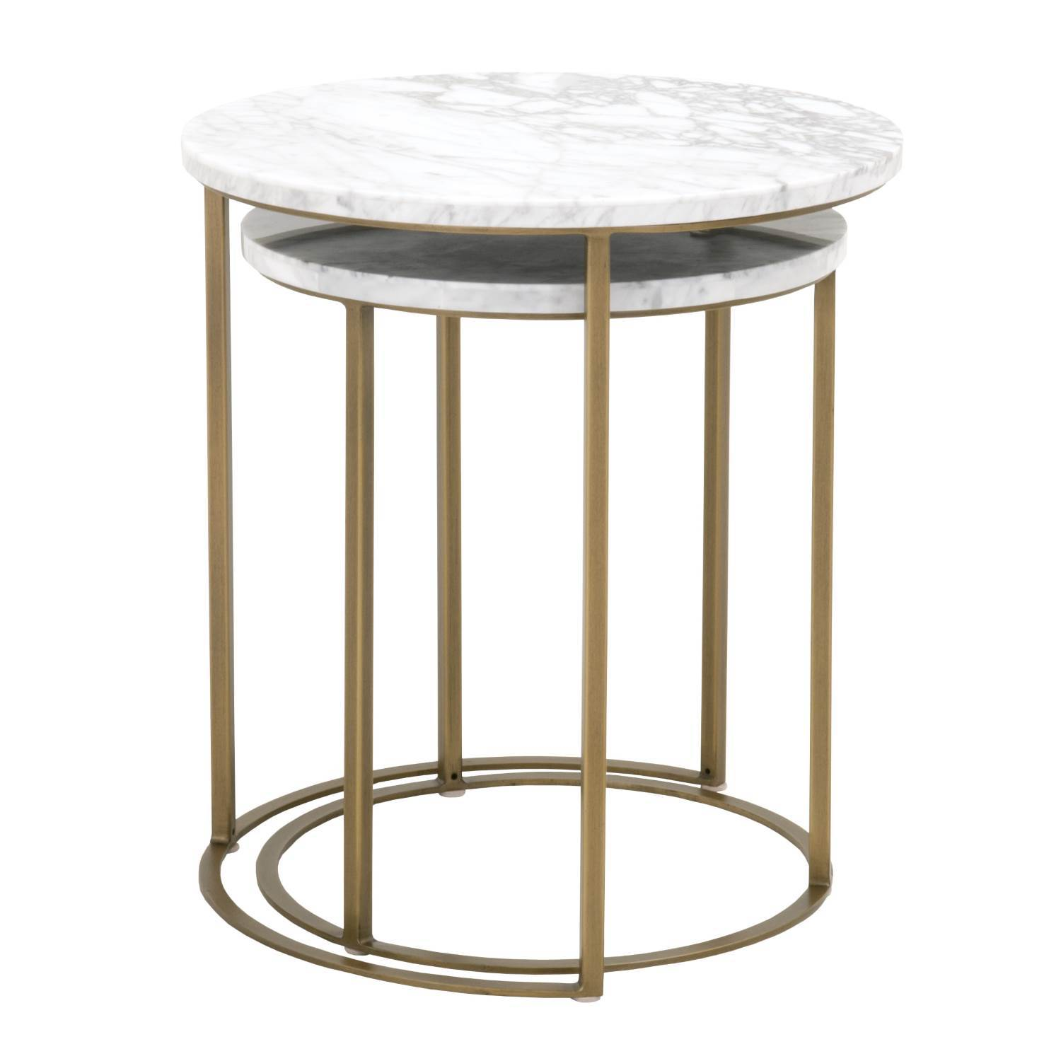carrera round nesting accent table turner and jacksonville interior design furnishings brushed gold entry furniture metal bookshelf verizon lte tablet grey nightstand lounge room