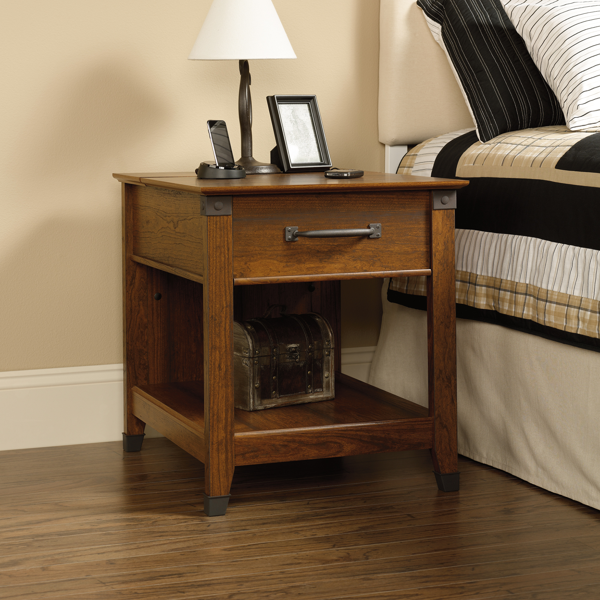 carson forge smartcenter side table sauder end with charging station unique rustic coffee tables and accent dog made from pet odd lots furniture cherry finish sets hexagon pipe