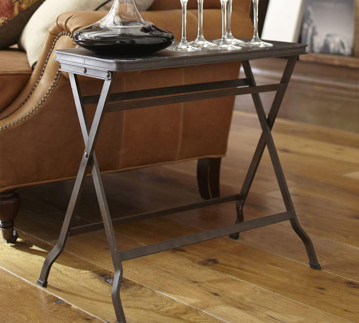 carter metal folding tray table pottery barn media accent tables large silver wall clock card tablecloth inch wide patio furniture montreal outdoor pool umbrellas brown marble