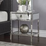 carter riveted stainless steel mirrored accent table inspire bold hollywood mosaic set high end lamps pottery barn circle half round entryway console with storage pier one sofa 150x150