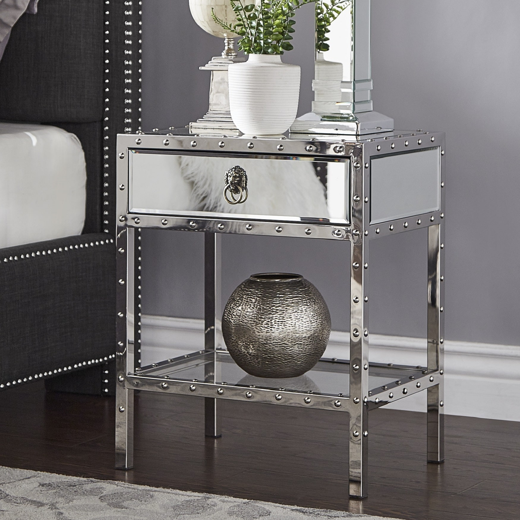 carter riveted stainless steel mirrored accent table inspire bold hollywood mosaic set high end lamps pottery barn circle half round entryway console with storage pier one sofa