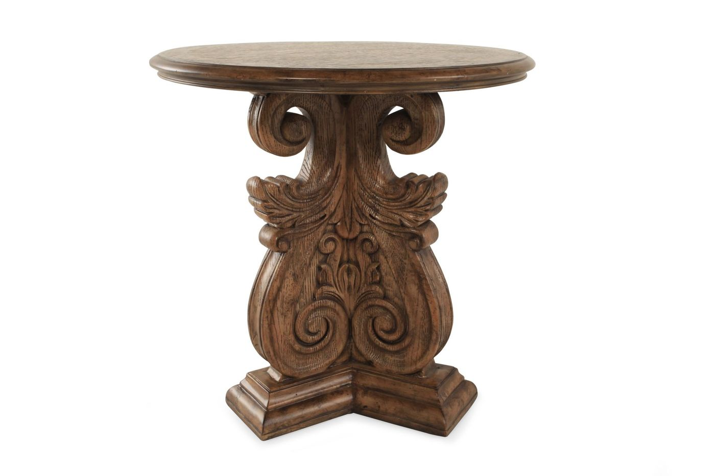 carved base traditional accent table antique brown mathis hook wood wine holder white round yellow home accessories outdoor sofa dining room and chair sets patio drink slim rack