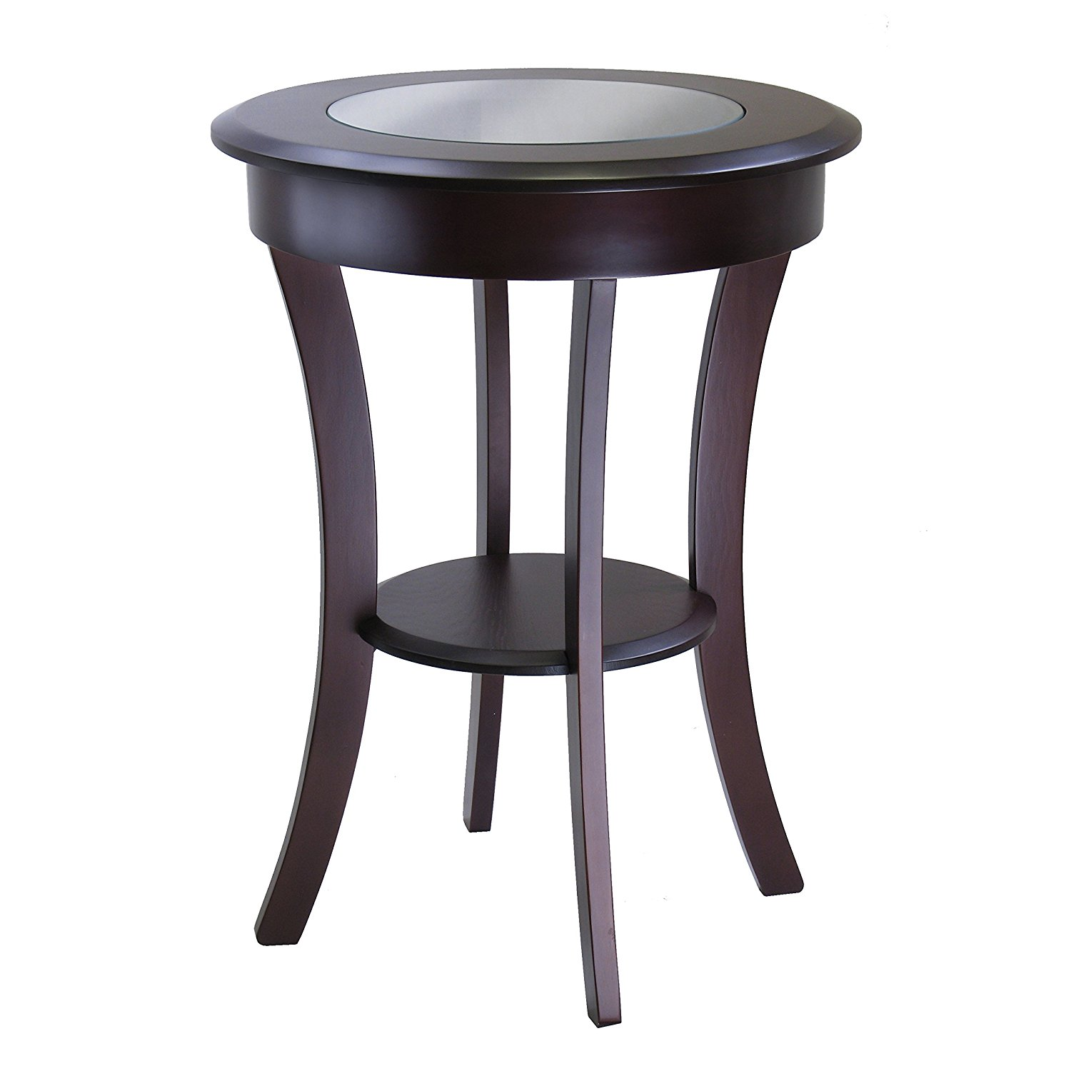 cassie accent table with glass top cappuccino finish round wood and winsome acrylic wheels end tables small white corner desk pier area rugs floor lamps large garden cover made