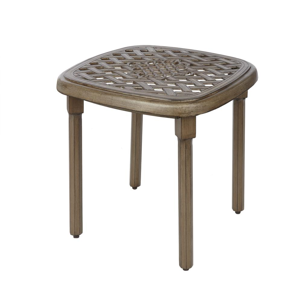 cast aluminum outdoor side tables patio the hampton bay ceramic end cavasso square metal table wood dresser mini fridge target platner steel pipe ikea white desk log coffee set