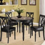 casual dining room design with piece piper espresso round dinette set faux marble center tabletops black vinyl wrapped chairs solid oak wood accent table top breakfast console 150x150