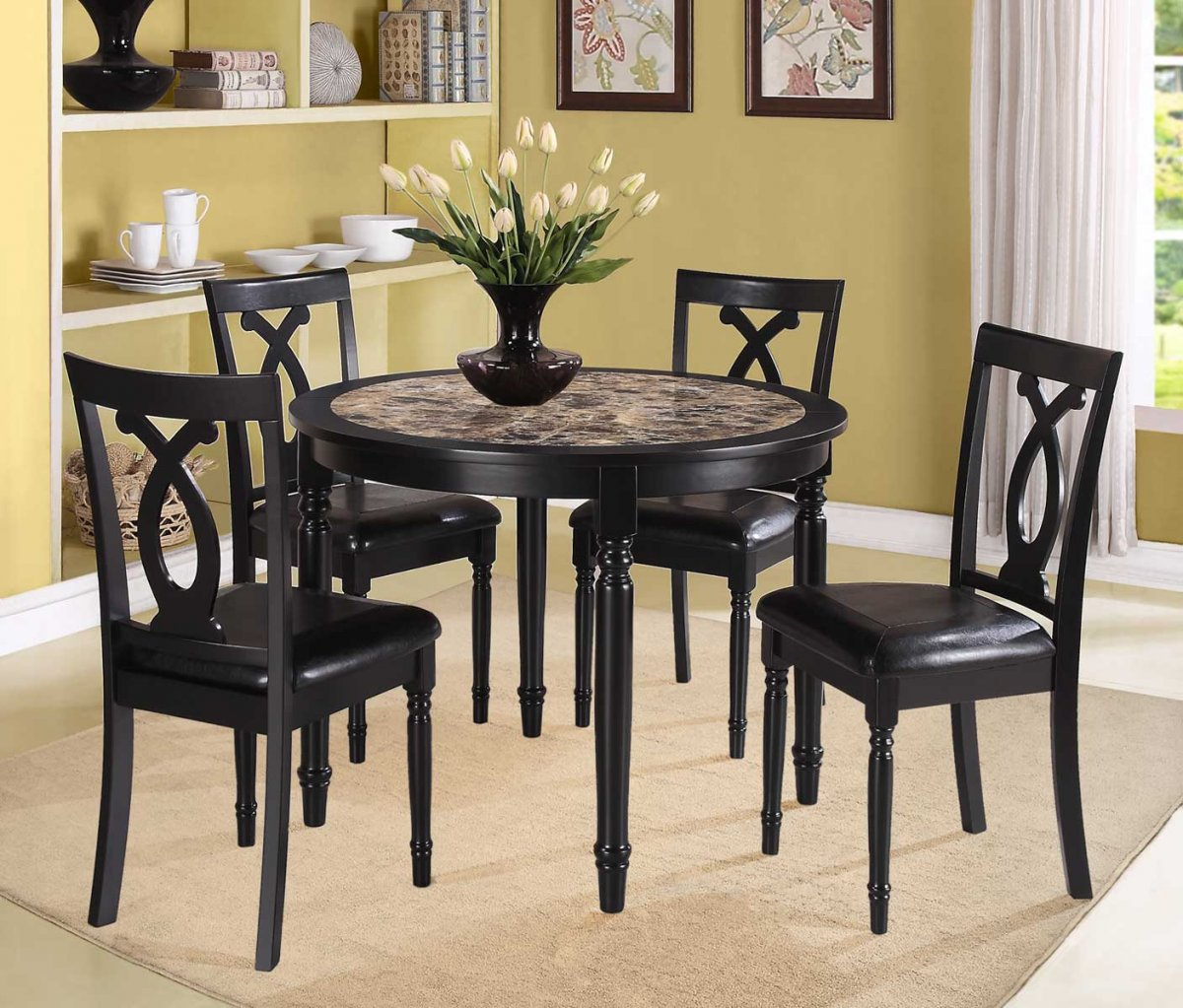 casual dining room design with piece piper espresso round dinette set faux marble center tabletops black vinyl wrapped chairs solid oak wood accent table top breakfast console