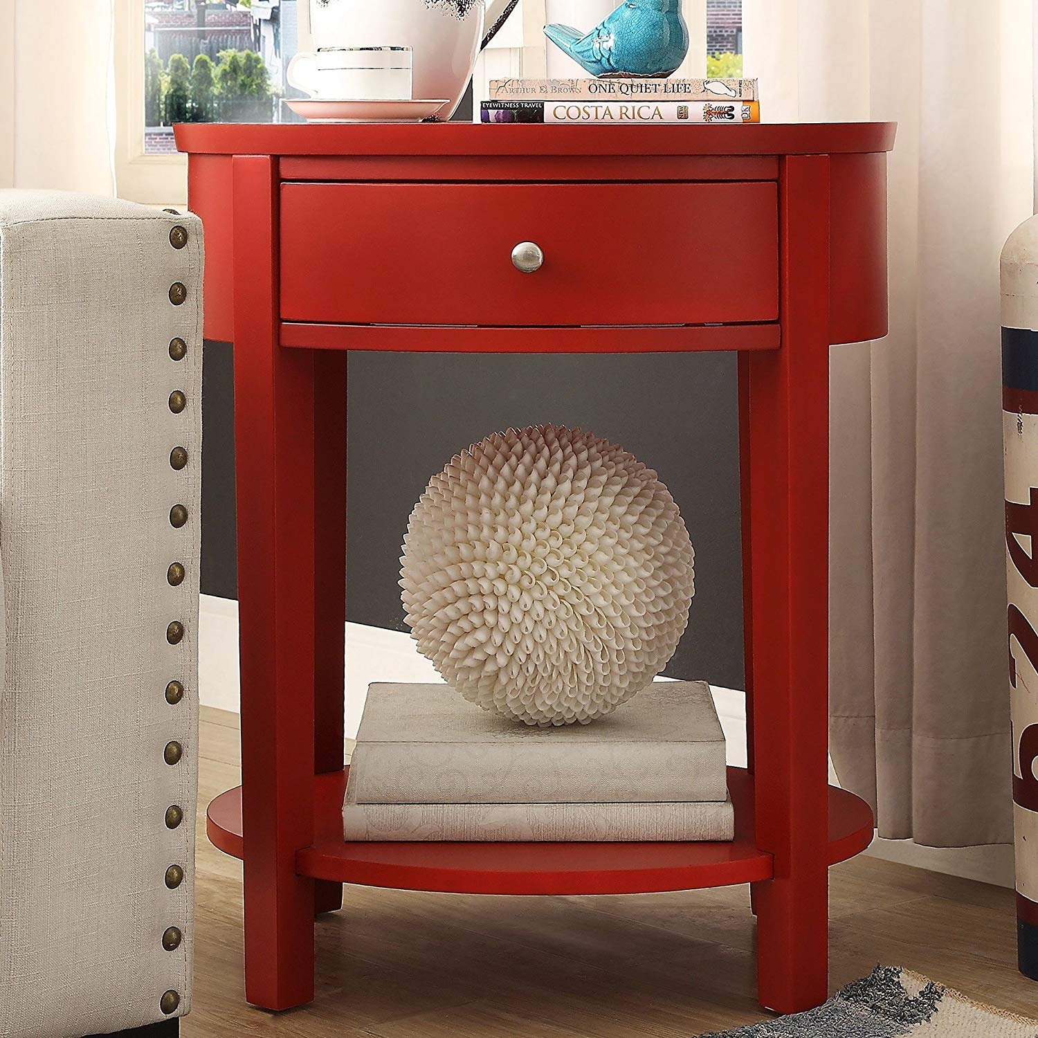 casual fillmore drawer oval wood shelf french dovetail fillmorered accent table red dining with bench seats round lamp tables for living room half moon glass ikea patio umbrella