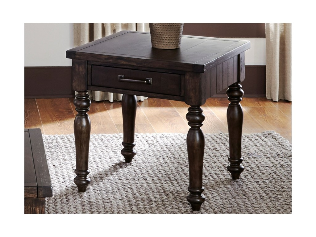 catawba hills occassional end table with turned legs and drawer products liberty furniture color dining leg accent threshold rowico ikea living room ideas garden bench dale