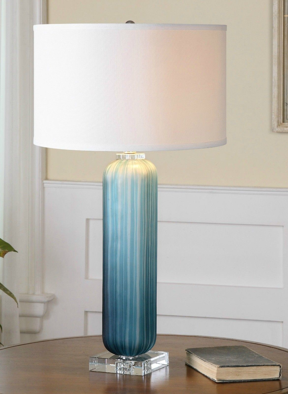 caudina frosted blue glass lamp beach cylinder accent table stunning your home love the beachy feel this heavily almost like sea nautical kitchen pendant lights furniture market