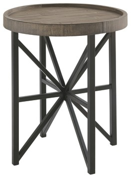 cazentine grayish brown black round end table brownblack raw wood accent short narrow target teal ashley furniture grey couch patio seating sets clearance inch wide nightstand