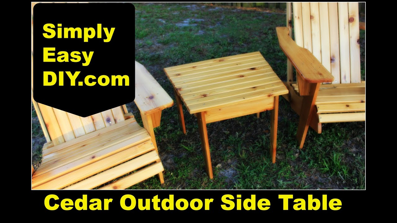cedar adirondack style outdoor side table diy accent walnut battery powered standard lamp wooden trestle ceramic small round end nautical tables fretwork threshold drop leaf