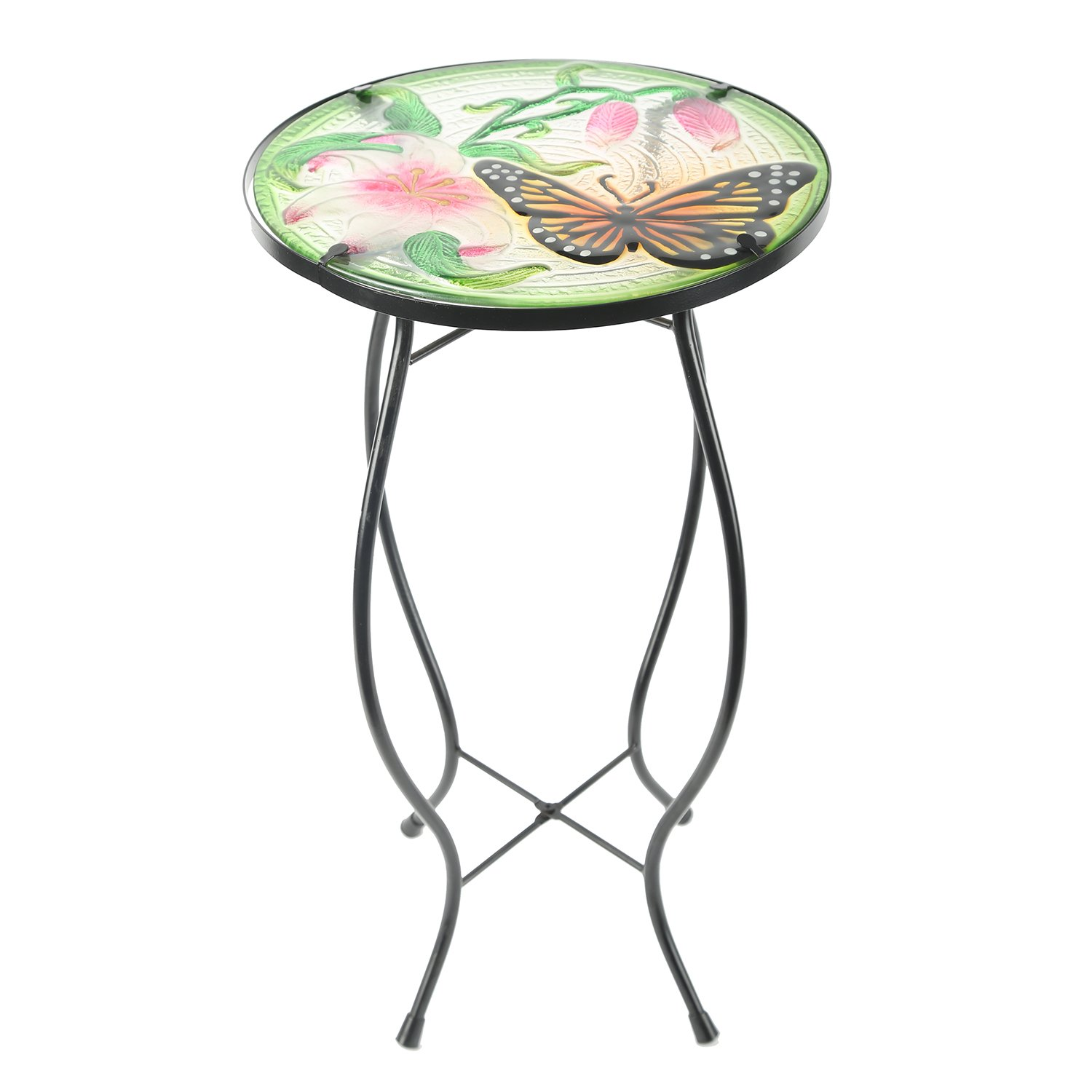 cedar home side table outdoor garden patio metal accent cbl desk with round hand painted glass pink end faux leather furniture west elm throws small tub chair white marble top