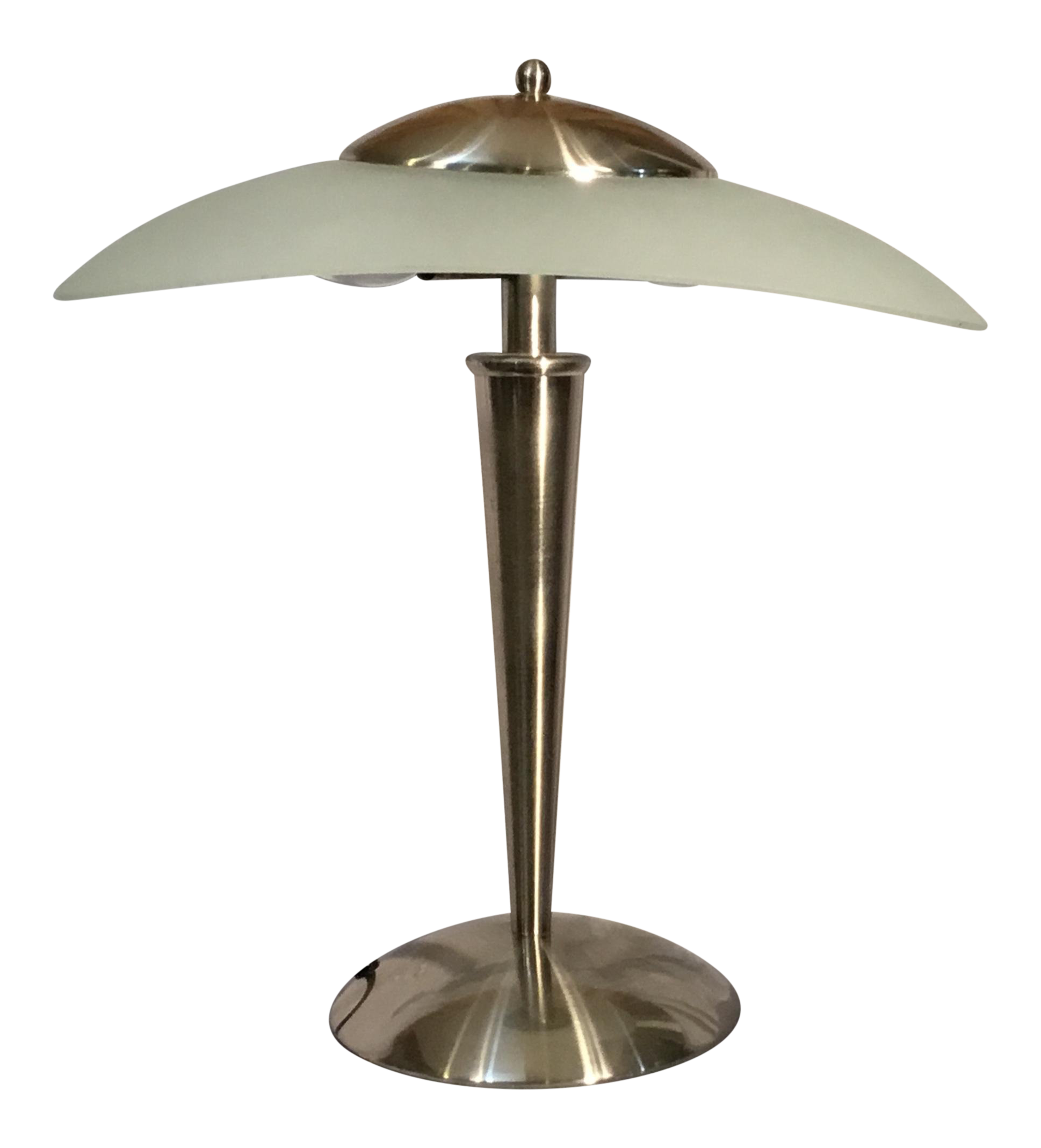 century art deco ufo atomic style chrome and frosted glass table lamp cylinder accent chairish beautiful nesting tables red cabinet wood console with drawers round coffee legs