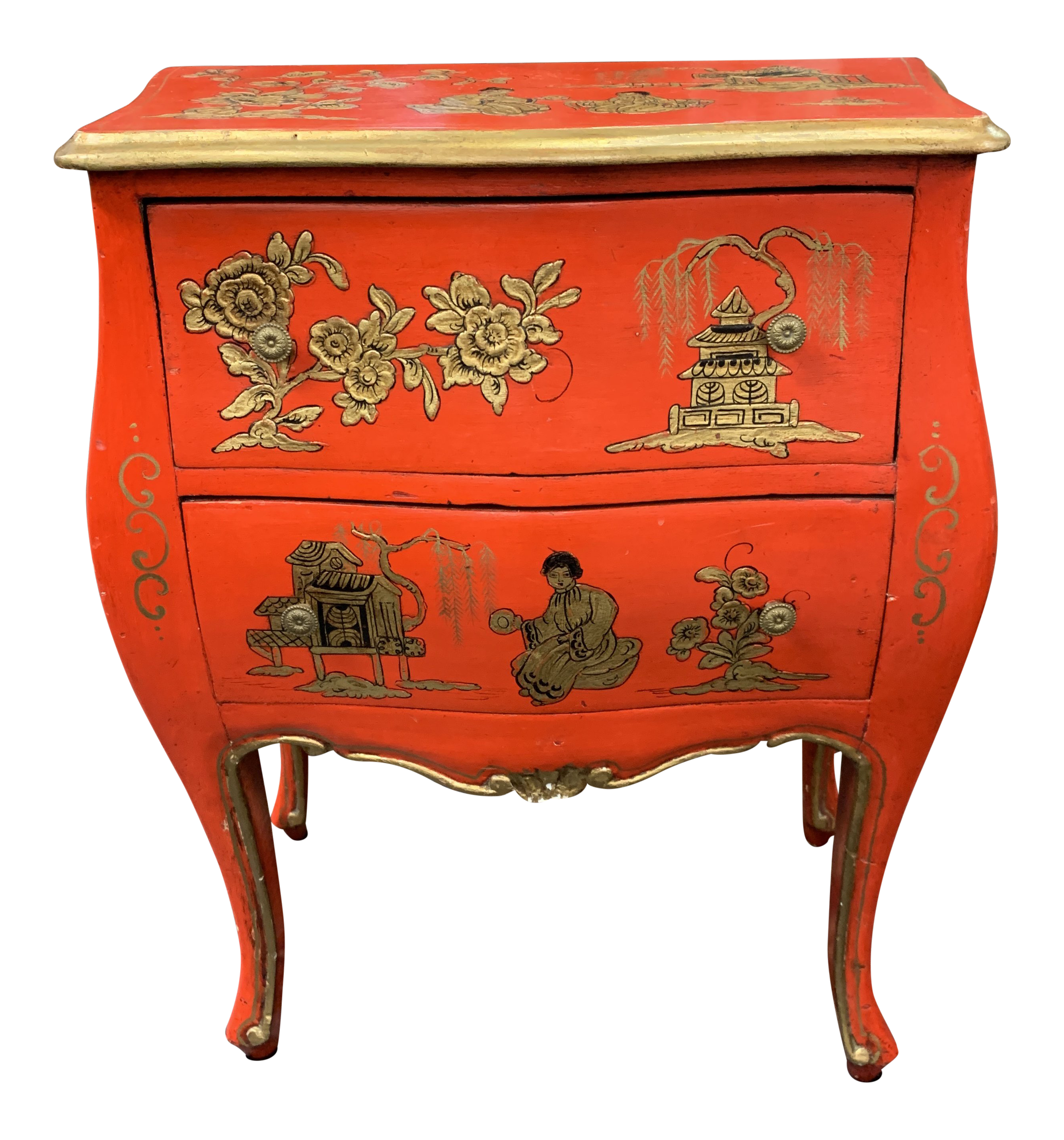 century asian red hand painted accent table chairish tables chests concrete look coffee bent acrylic garden bistro and chairs brass nautical lights teal blue mid grey wood dining