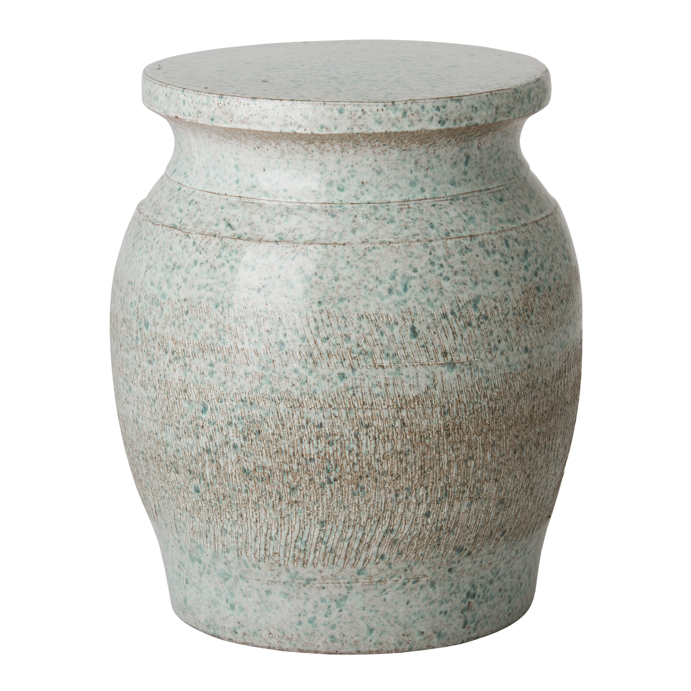 ceramic garden stools finegardenproducts stool accent table large koji coastal splash glaze half round with drawers outside storage cabinets butler jcpenney console west elm mid