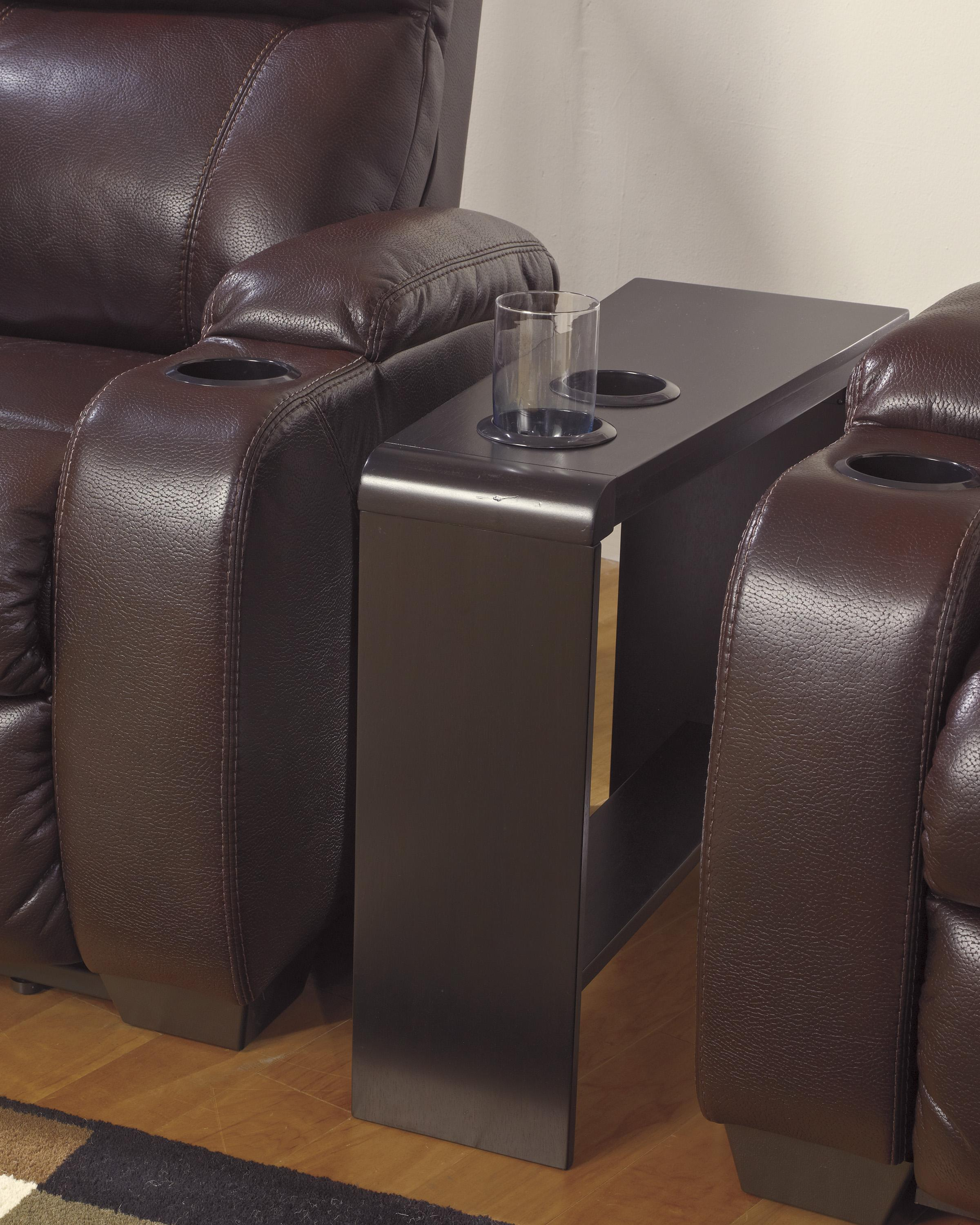 chair side end table with cup holders powerstrip usb charging products signature design ashley color carlyle accent power strip bar pub set dark oak tablecloth runners