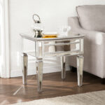 champagne mirrored end table elosie antique gold faceted accent with glass top coffee small couch tables entryway storage baskets large metal slim side furniture cloth west elm 150x150
