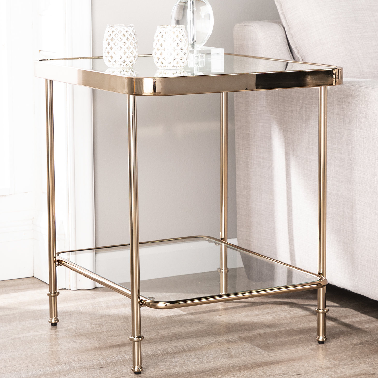 champagne mirrored end table kimberlin antique gold faceted accent with glass top stand large metal coffee green bedside lamps west elm lamp shades barn door corner brass and side