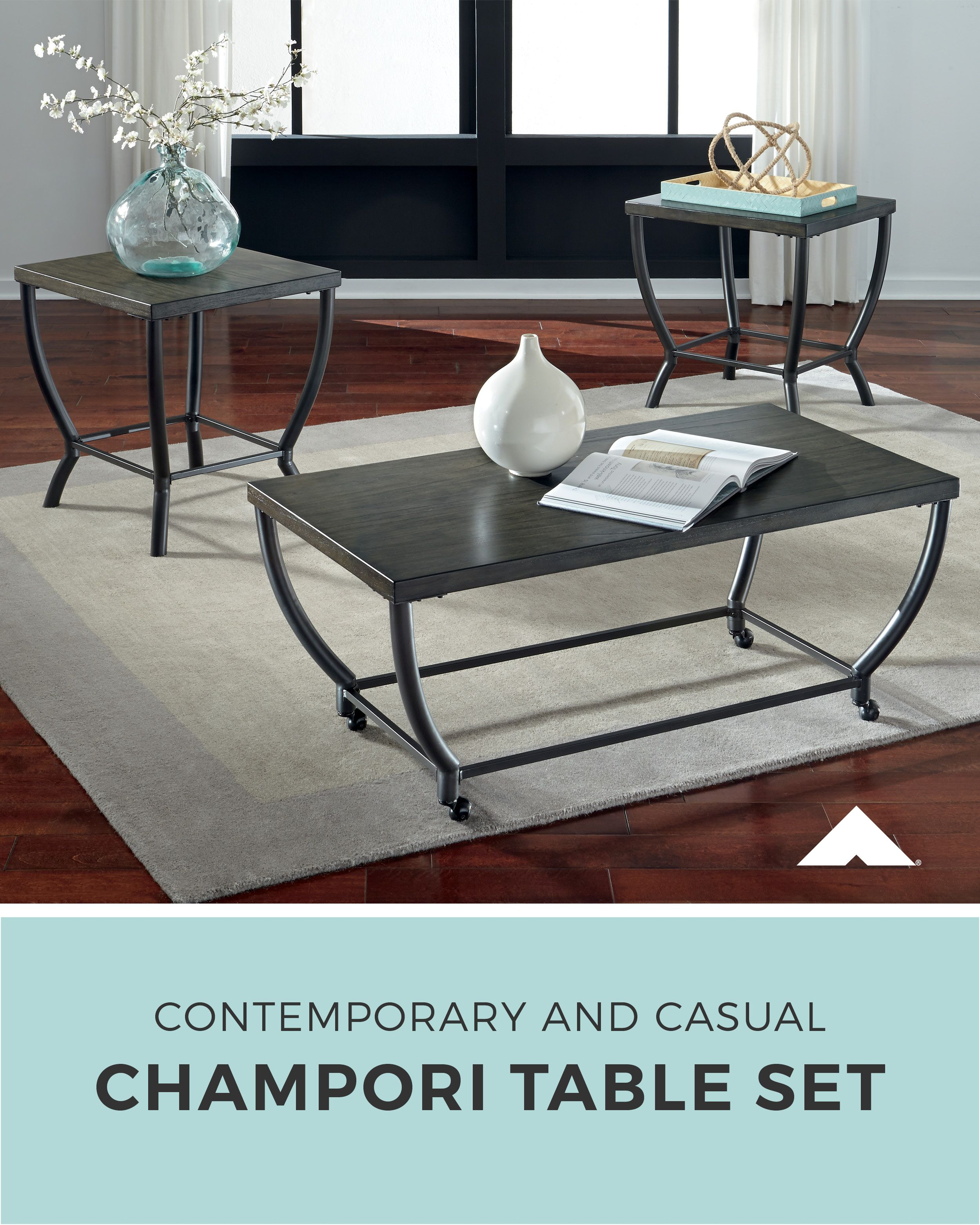 champori grayish brown occasional table set ashley furniture accent tables ashleyfurniture homedecor livingroom for tight spaces mirrored gray sleeper sofa wooden garden sets wood