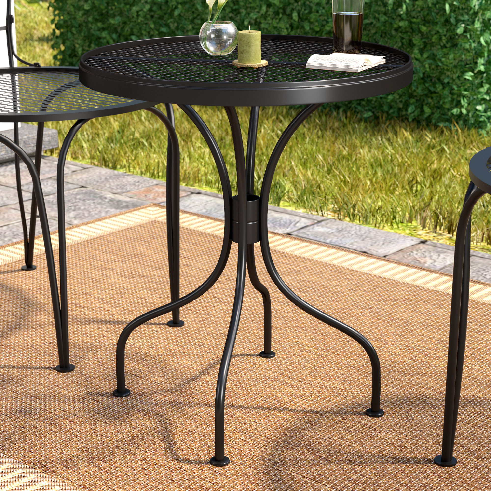 charlton home bissette wrought iron side table reviews yellow outdoor accent wood one drawer threshold art deco lamps farmhouse and chairs oval glass top clearance copper drum end