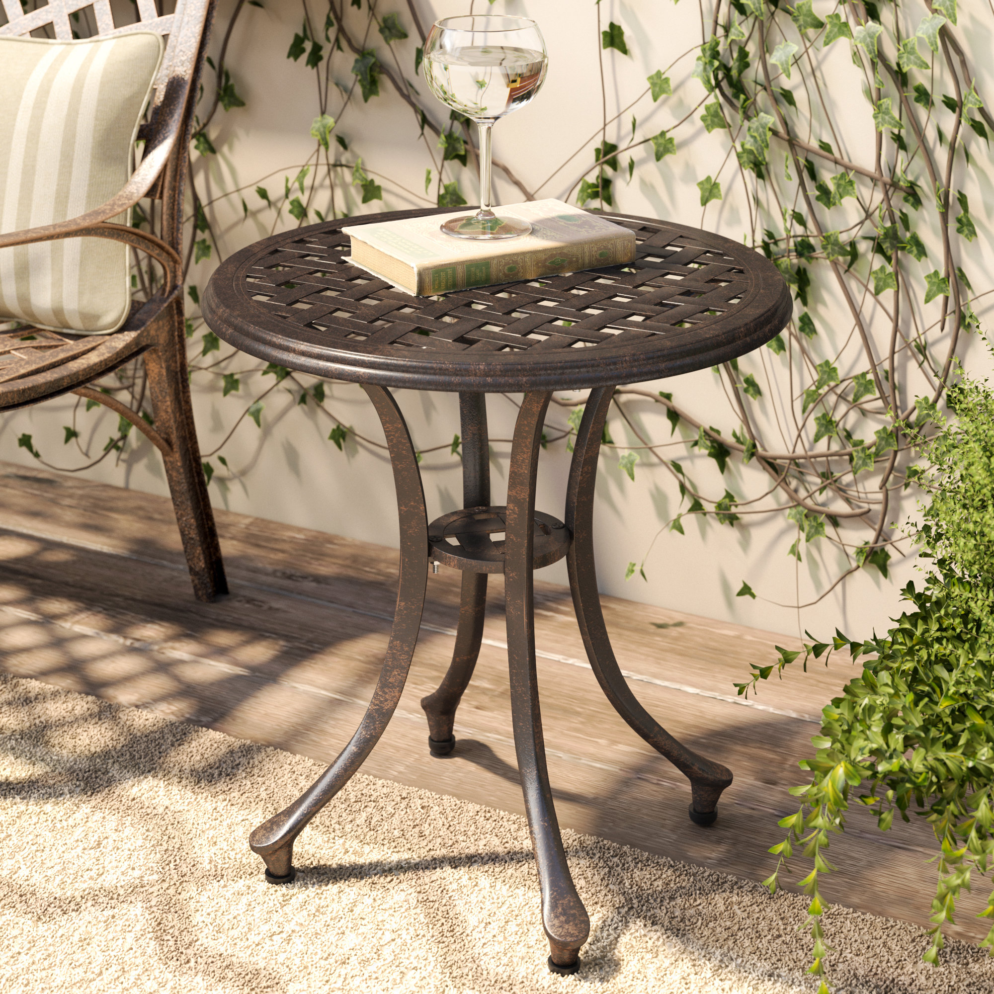 charlton home kastner outdoor metal side table reviews wrought iron patio accent bathroom caddy corner furniture antique with shelf small white bedside outside tables bistro bar