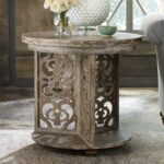 chatelet wood round accent table caramel froth humble abode roundaccenttable caramelfroth hookerfurniture fretwork blue turquoise dresser ceramic sofa and end tables roland drum 150x150