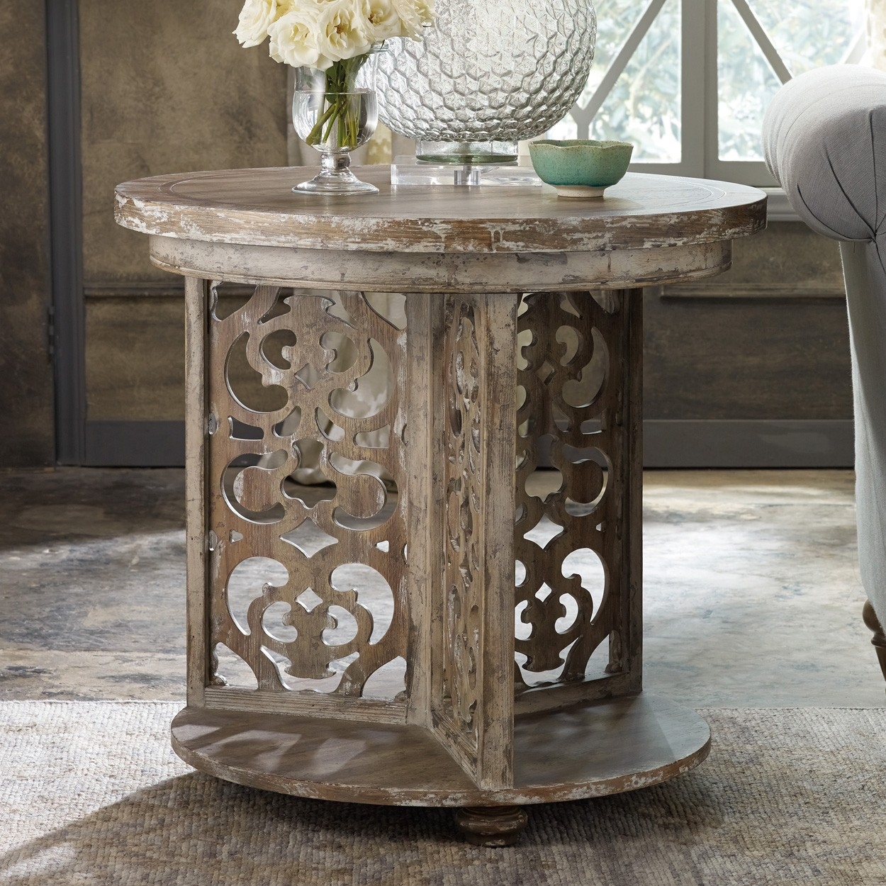 chatelet wood round accent table caramel froth humble abode roundaccenttable caramelfroth hookerfurniture fretwork blue turquoise dresser ceramic sofa and end tables roland drum