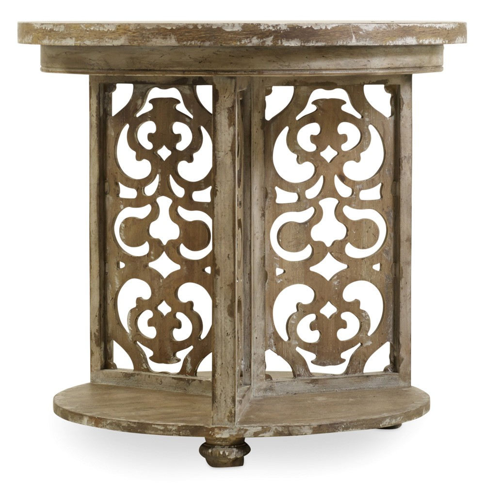 chatelet wood round accent table caramel froth humble abode roundaccenttable caramelfroth hookerfurniture metal distressed white sofa comfortable outdoor chairs living room