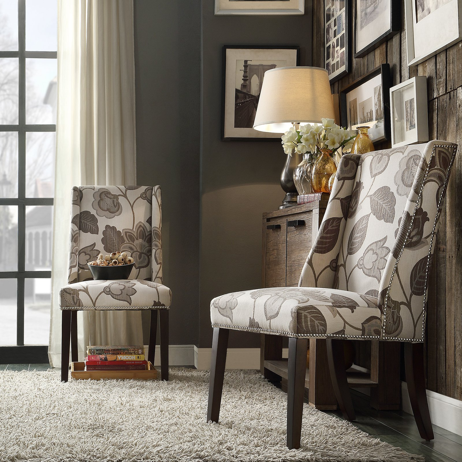 chelsea lane classic gray flower with leaves print wingback accent chair set table nailhead folding dining for small space hampton bay wicker windham cabinet mosaic top coffee