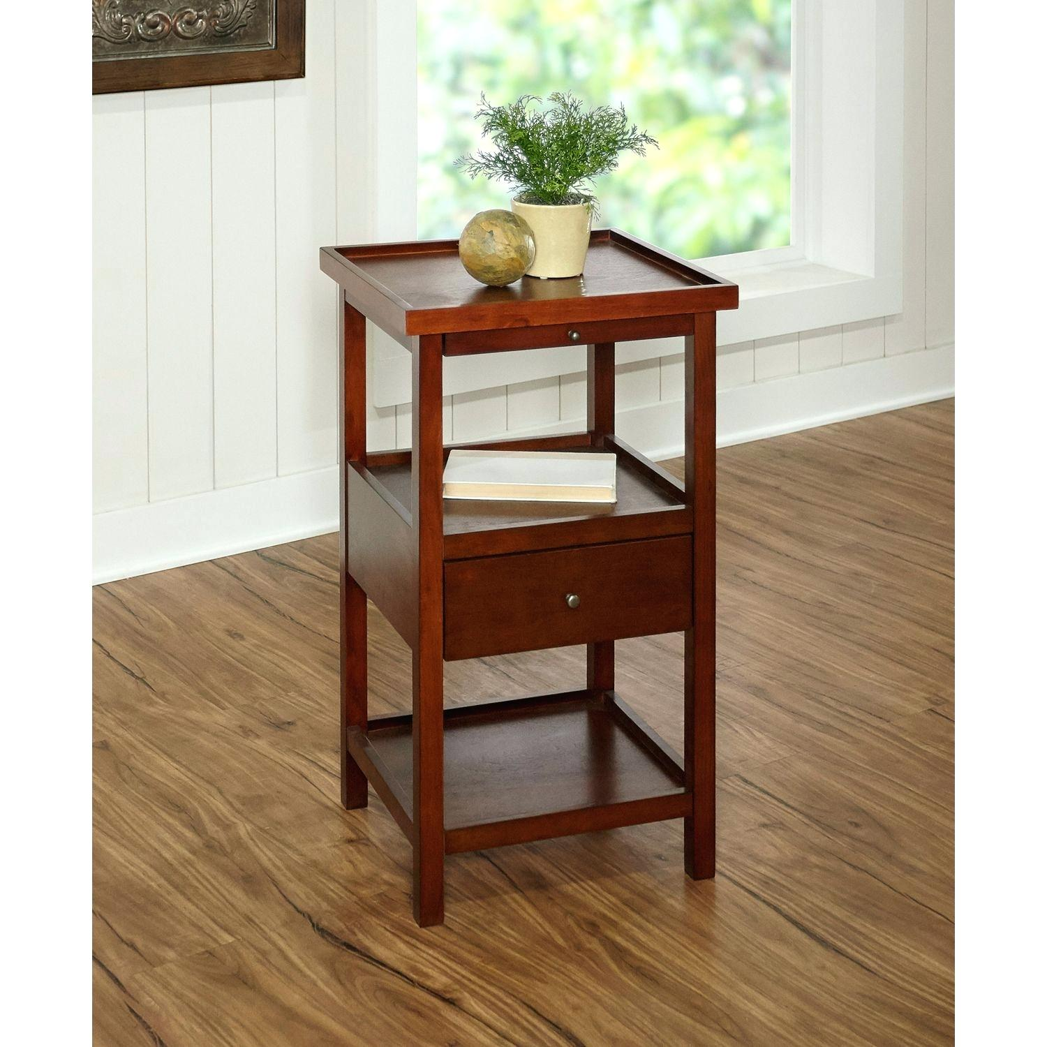cherry accent furniture table and antique white with shelf pier imports mosaic garden bistro set touch bedside lamps end rustic cantilever umbrella outdoor iron coffee meyda