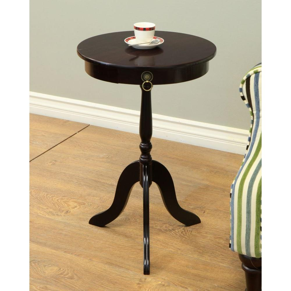 cherry end table round pedestal accent sturdy construction new espresso megahome tables black metal coffee with glass top nautical bar lights home accents furniture white drop