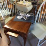 cherry wood accent table divine consign home treasures traditional style leg with pull out writing slabs some minor wear top target patio coffee oak wine rack zinc trestle pottery 150x150