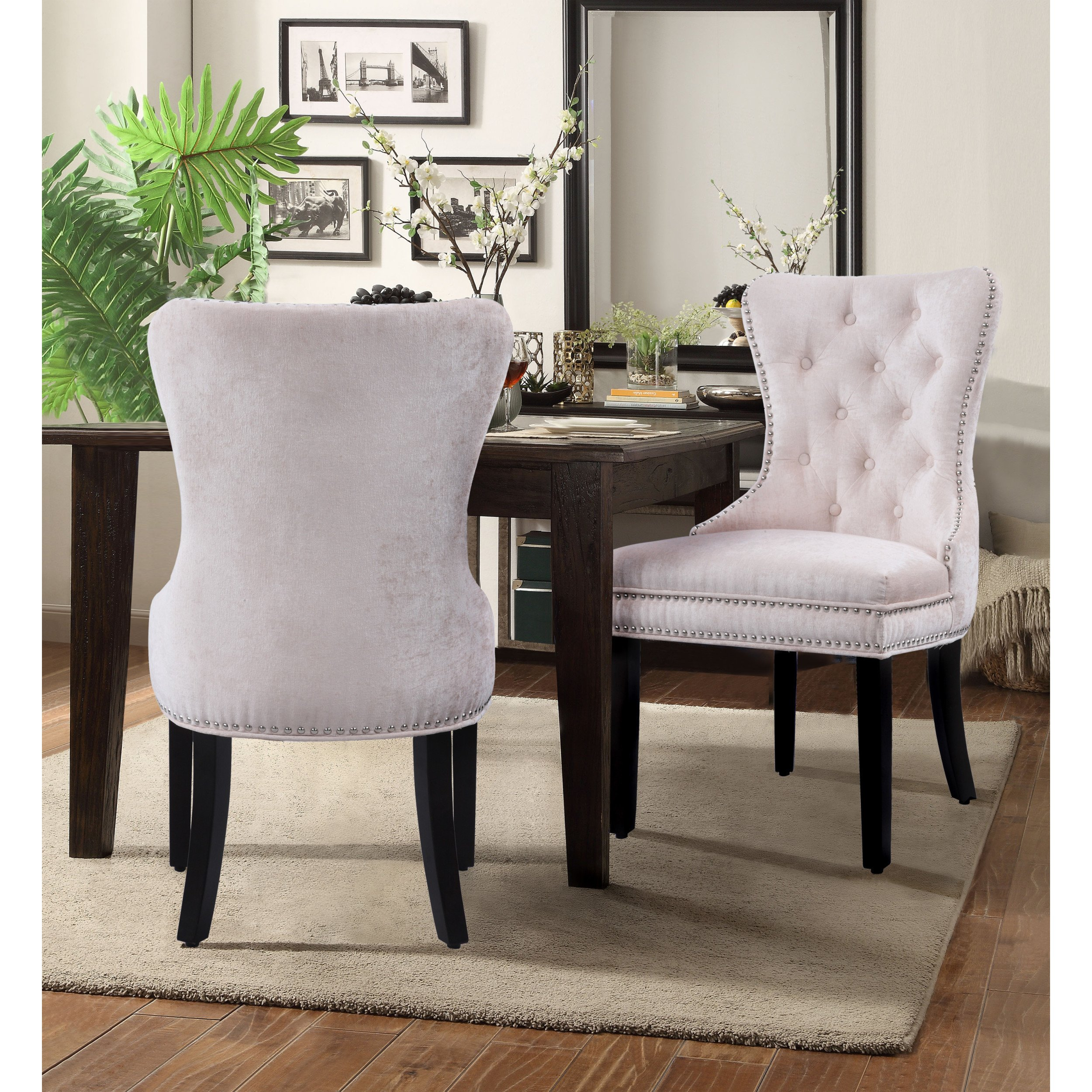 chic home elizabeth velvet upholstery dining accent chairs set furniture nightstand bedside table black nest tables telescope oval outdoor small with folding sides modern wood