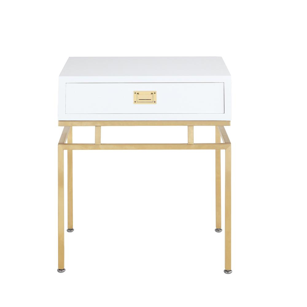 chic home genoa nightstand side table with self closing drawer white lacquer accent architectural base brass finished stainless phone keter pacific cool bar bbq prep marble top