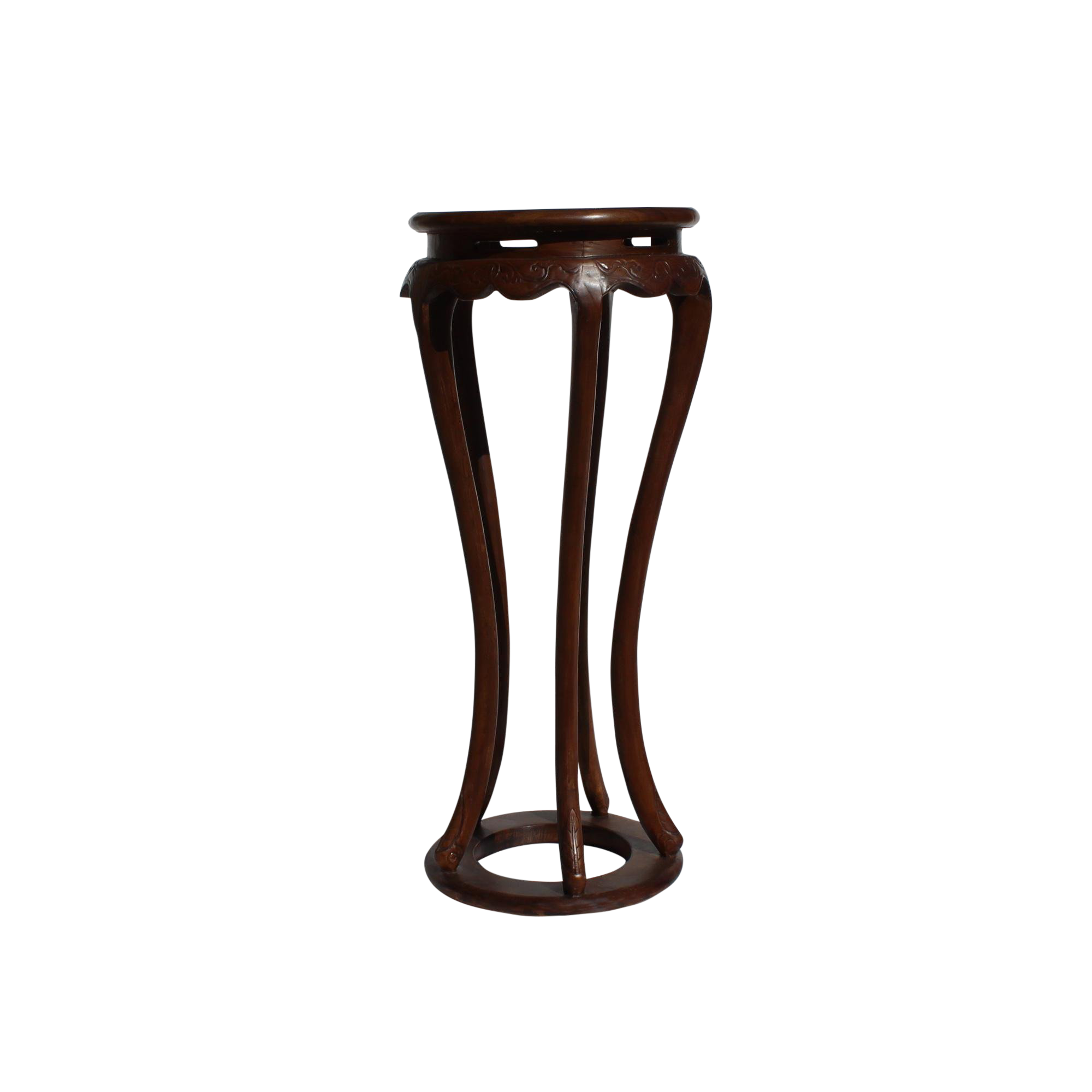 chinese brown tall round legs plant stand pedestal table chairish accent grey placemats and napkins laminate threshold bar wood nest tables outdoor patio chairs howard elliott