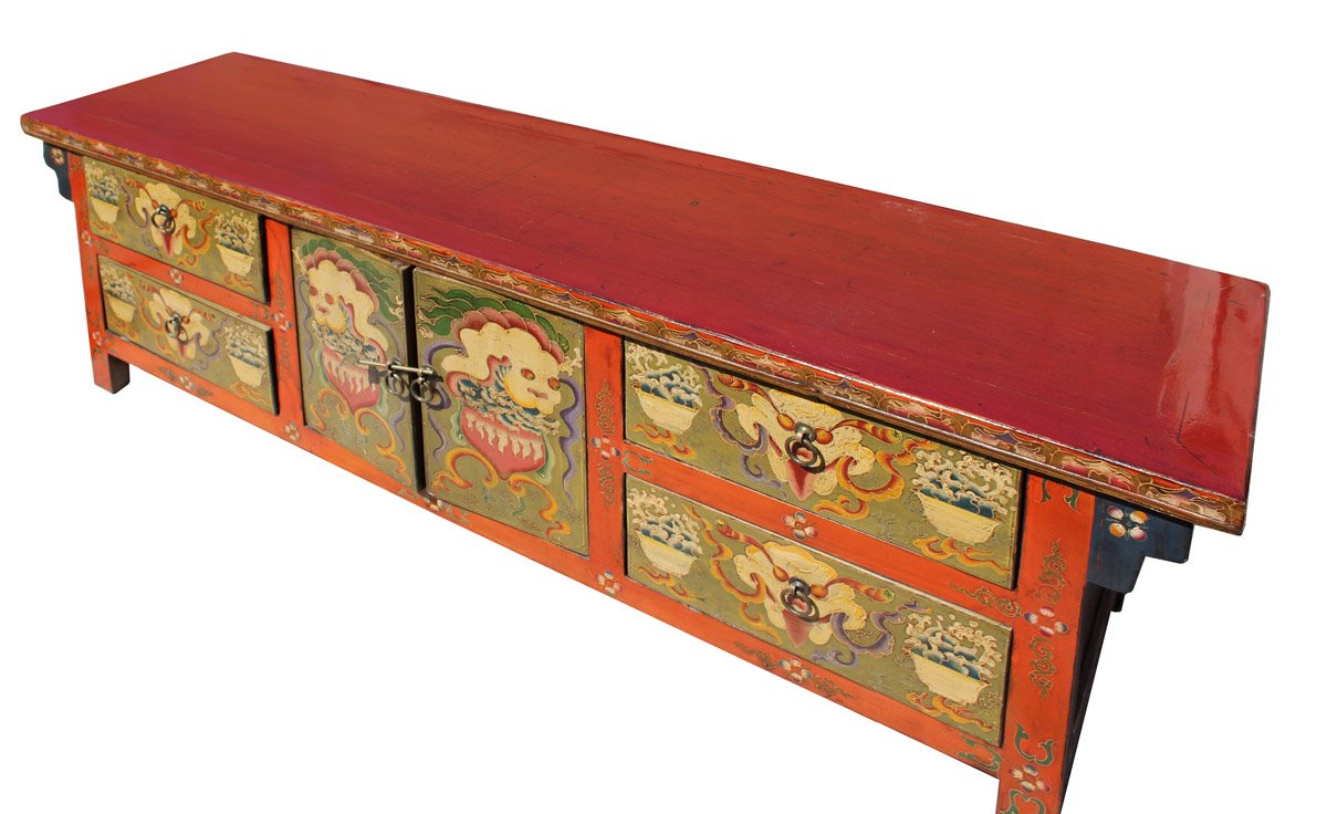 chinese orange tibetan skull foo dogs console table drum accent cabinet kitchen dining long narrow bar drop leaf sets world market lamps chest with doors and drawers dog bath tub