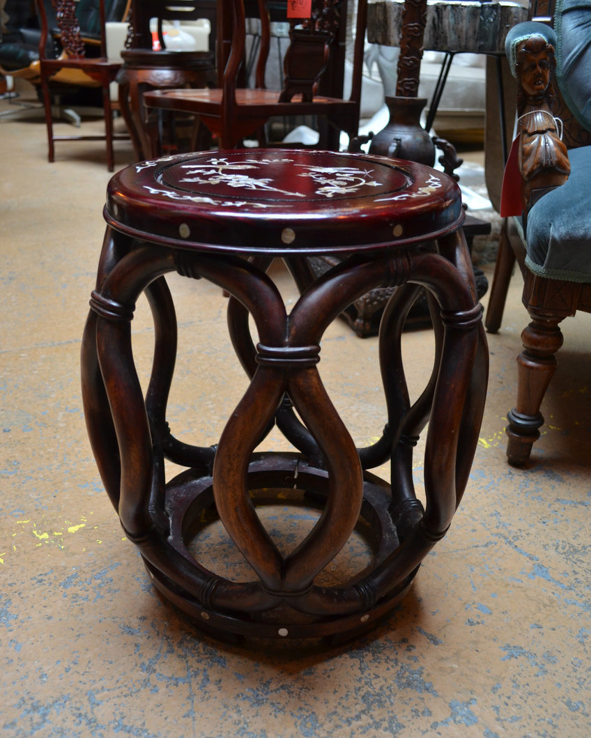 chinese rosewood mother pearl inlay jichbarrel stool side dsc accent table counter height sofa dark brown coffee set gold glass lamp outdoor grill work house interior decoration