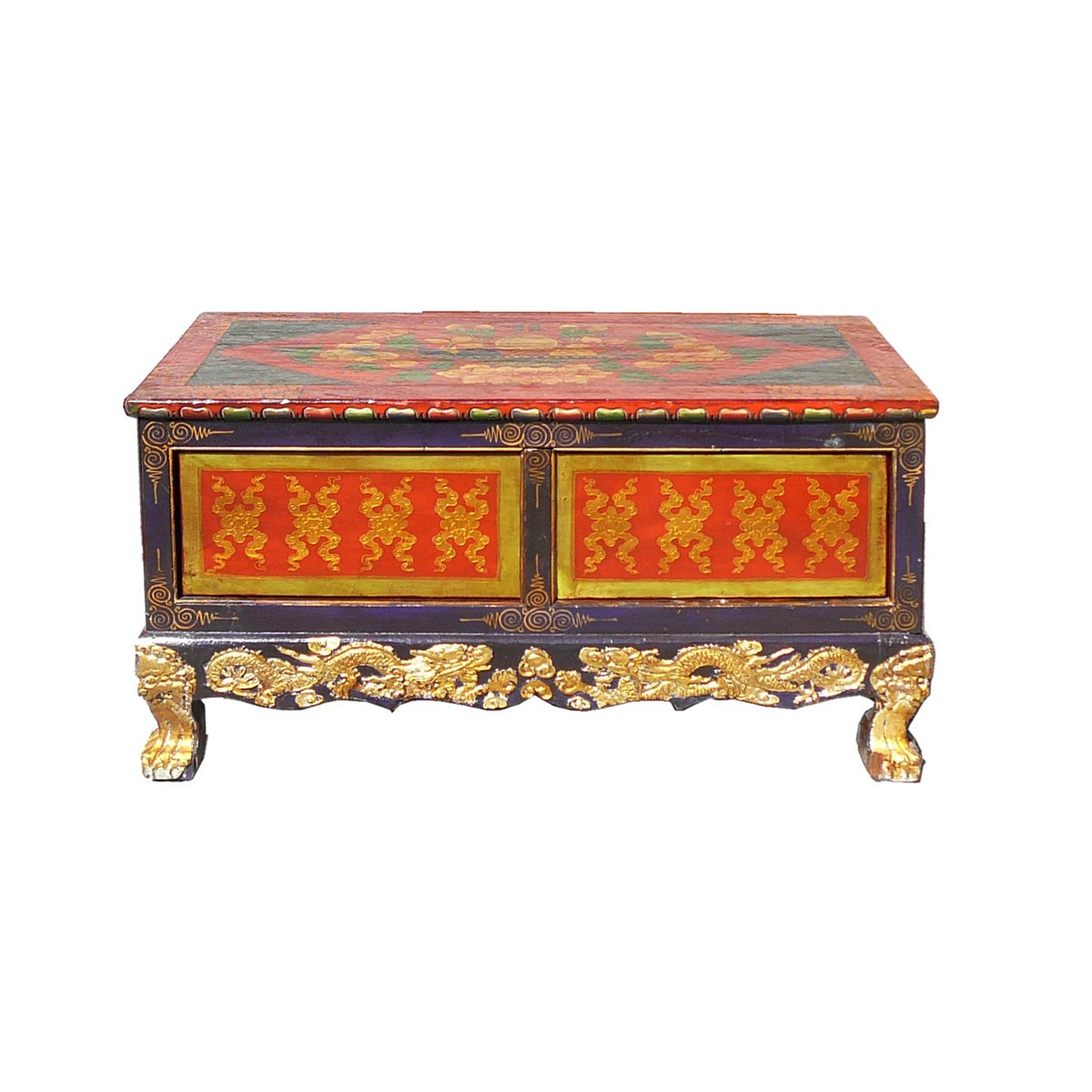 chinese tibetan golden craw legs low coffee table chairish drum accent pineapple umbrella stand small dining clear console barn wood furniture office side teak metal wine rack
