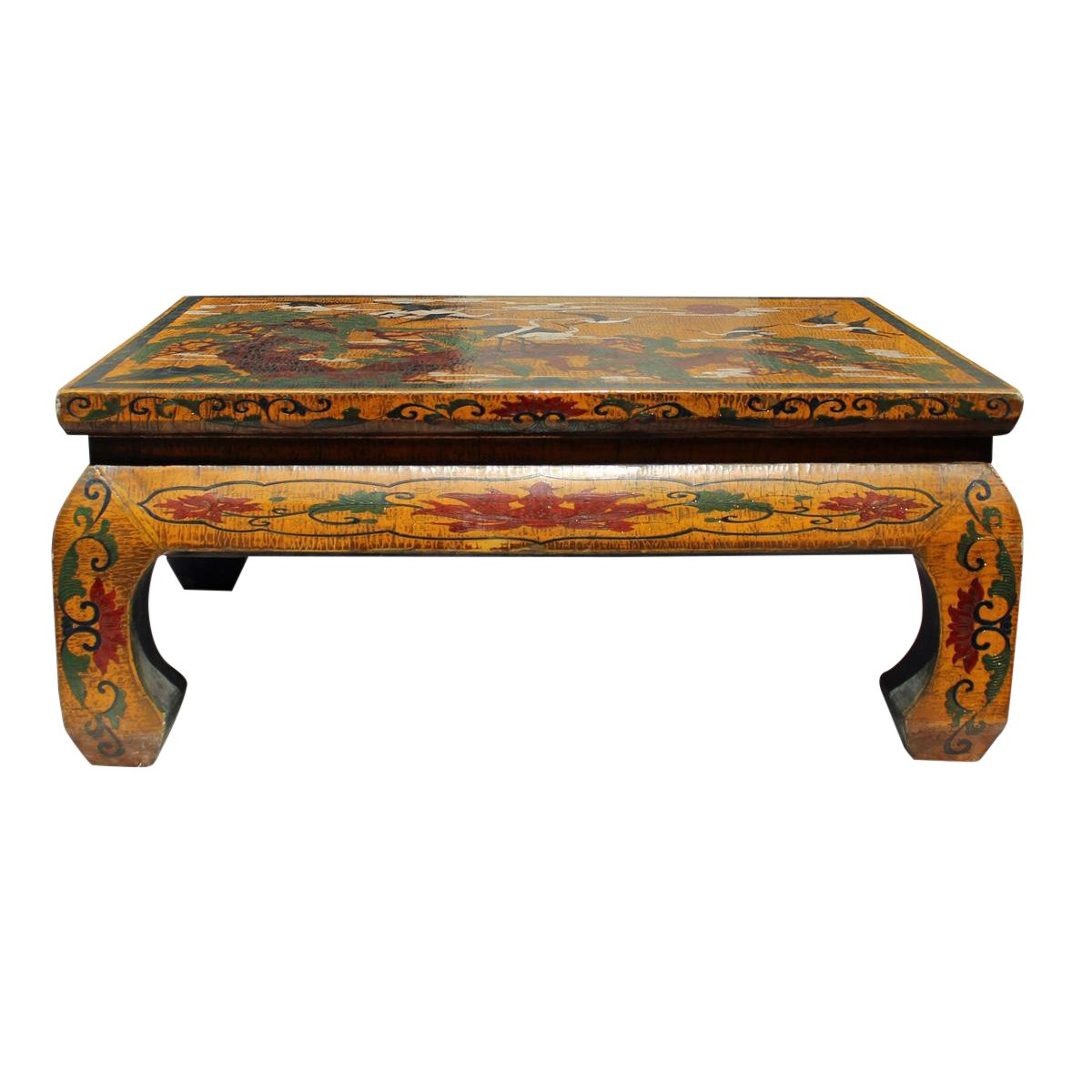 chinese tibetan yellow lacquer cranes pine table stand chairish drum accent sofa bench ikea west elm beds dog bath tub futon covers and beyond metal reducer strip barn wood