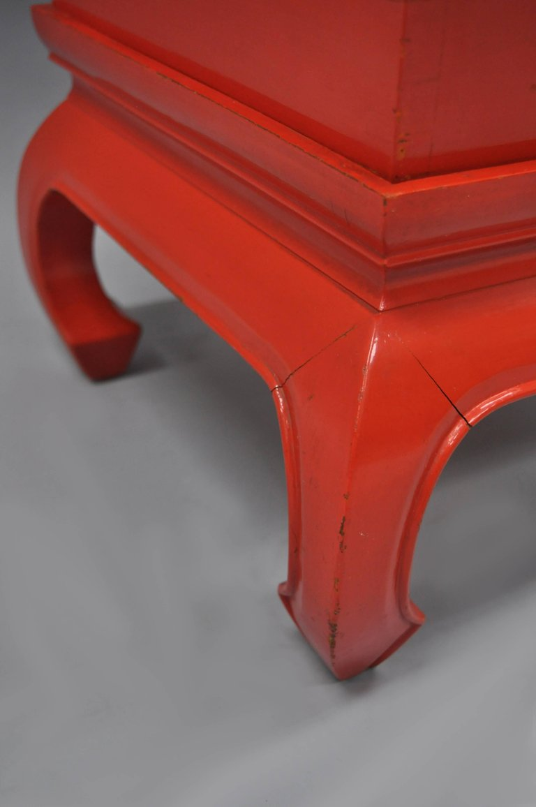 chinoiserie red lacquer oriental pedestal planter accent table brass dsc master metal faux bamboo for rattan tool chest glass top side pottery barn leather sofa foot round
