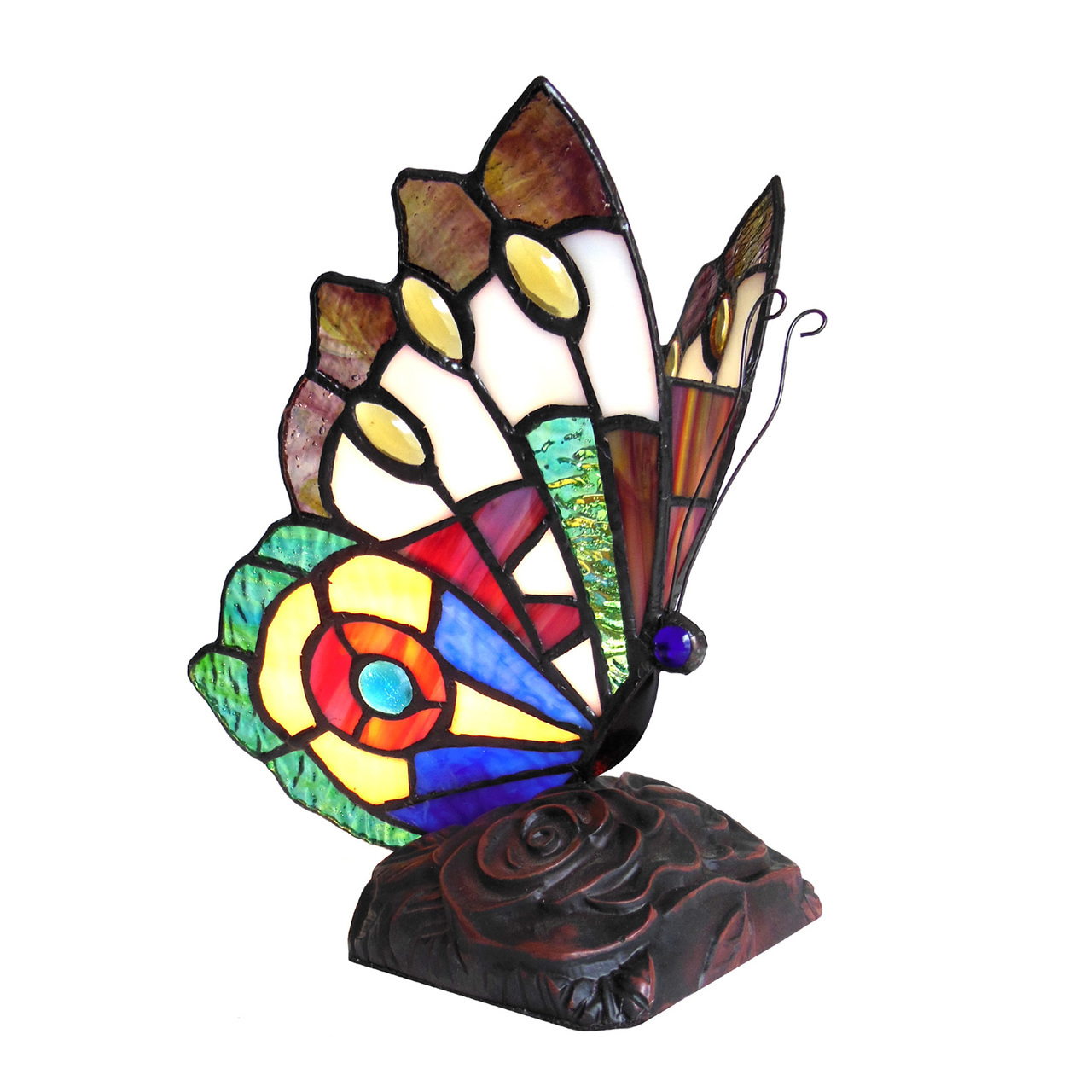 chloe lighting kacy stained glass light butterfly accent table main lamp tall umbrella stand chairs edmonton modern linens bronze coffee teal kitchen decor pallet plans small