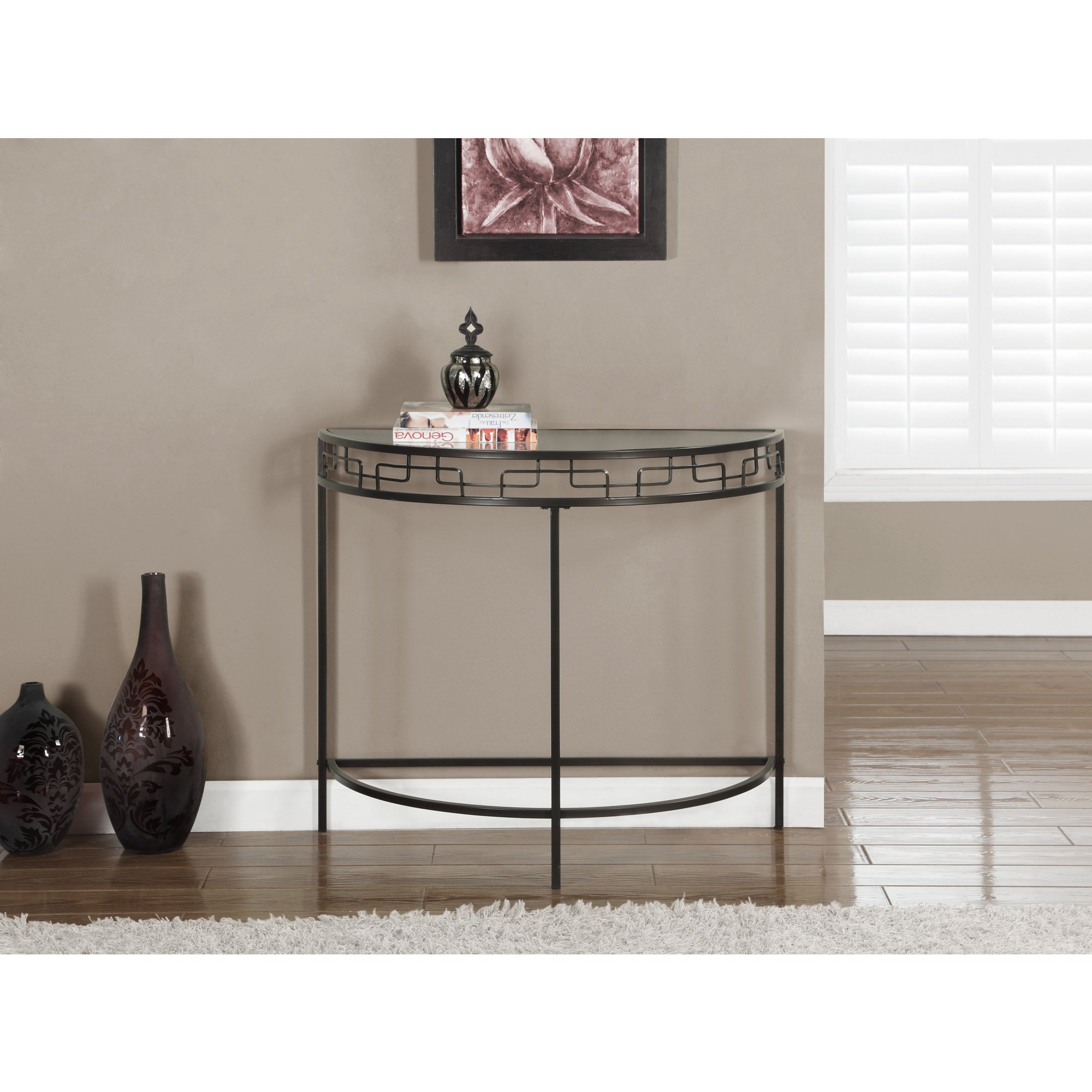 chocolate brown metal hall console accent table free shipping today corner shelf stacking snack tables modern telephone fine linens furniture pieces outdoor bbq grill black white